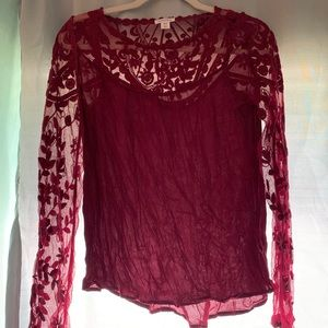 Burgundy lace long sleeve blouse